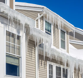 an ice dam can damage the exterior and interior of your home