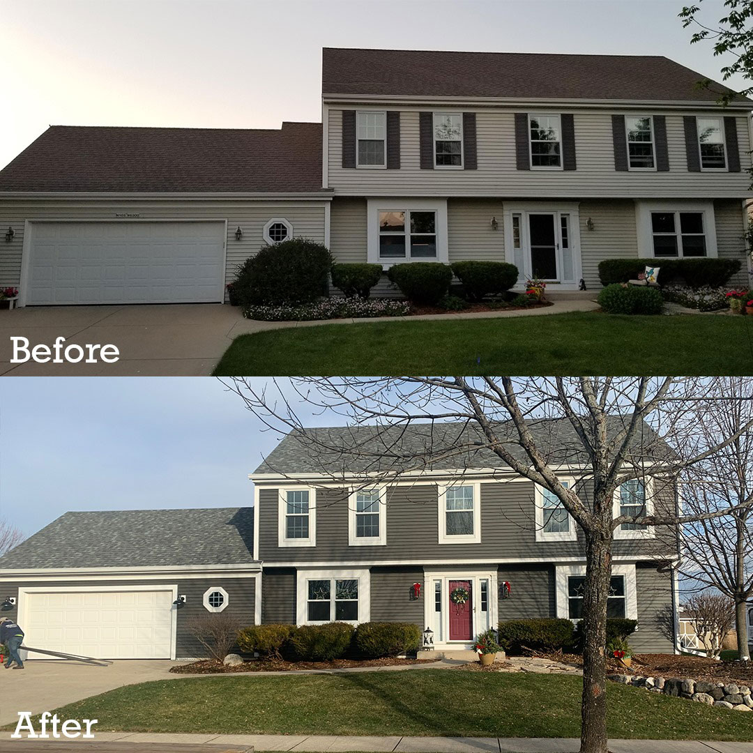 before and after exterior remodeling of a home