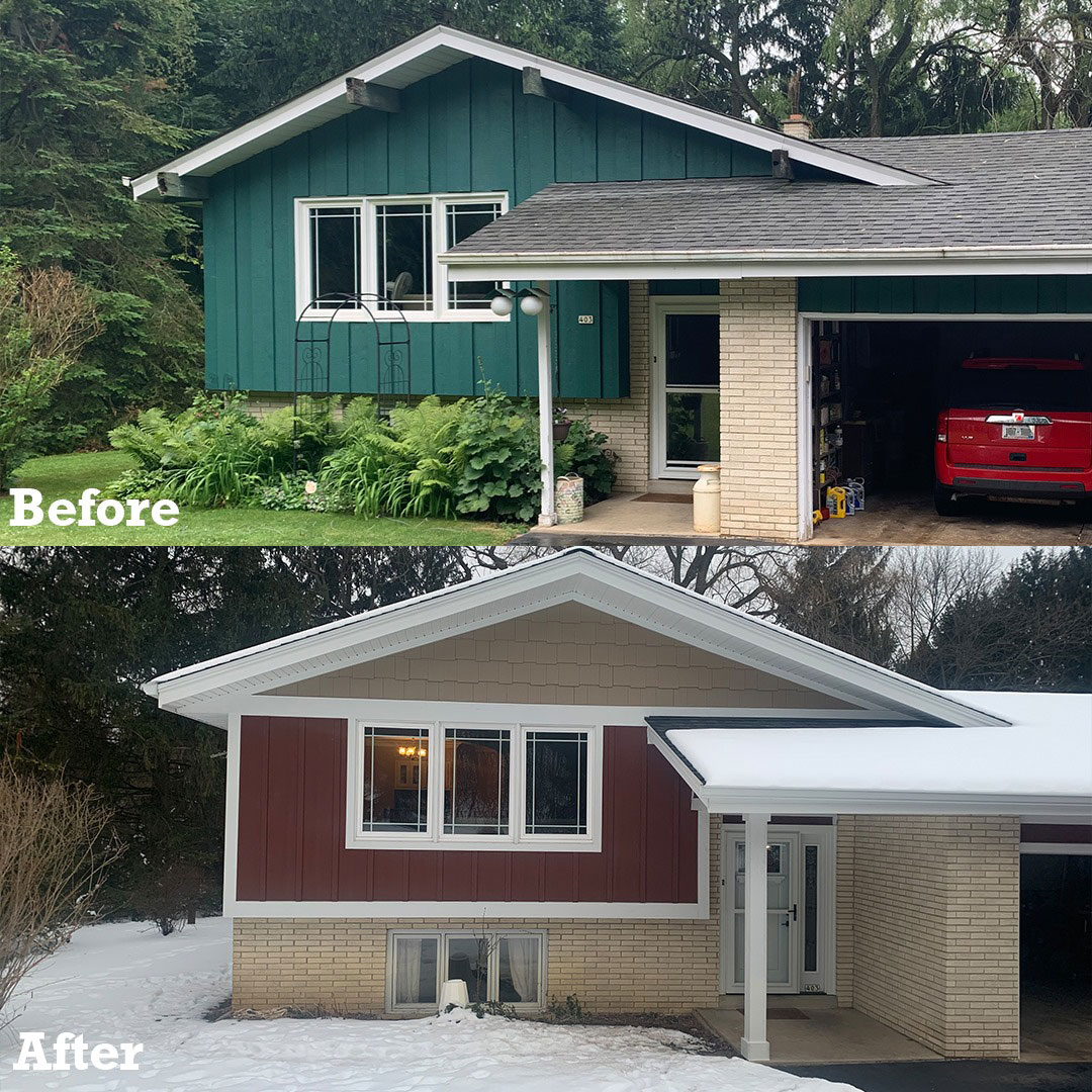 before and after split-level exterior remodeling project