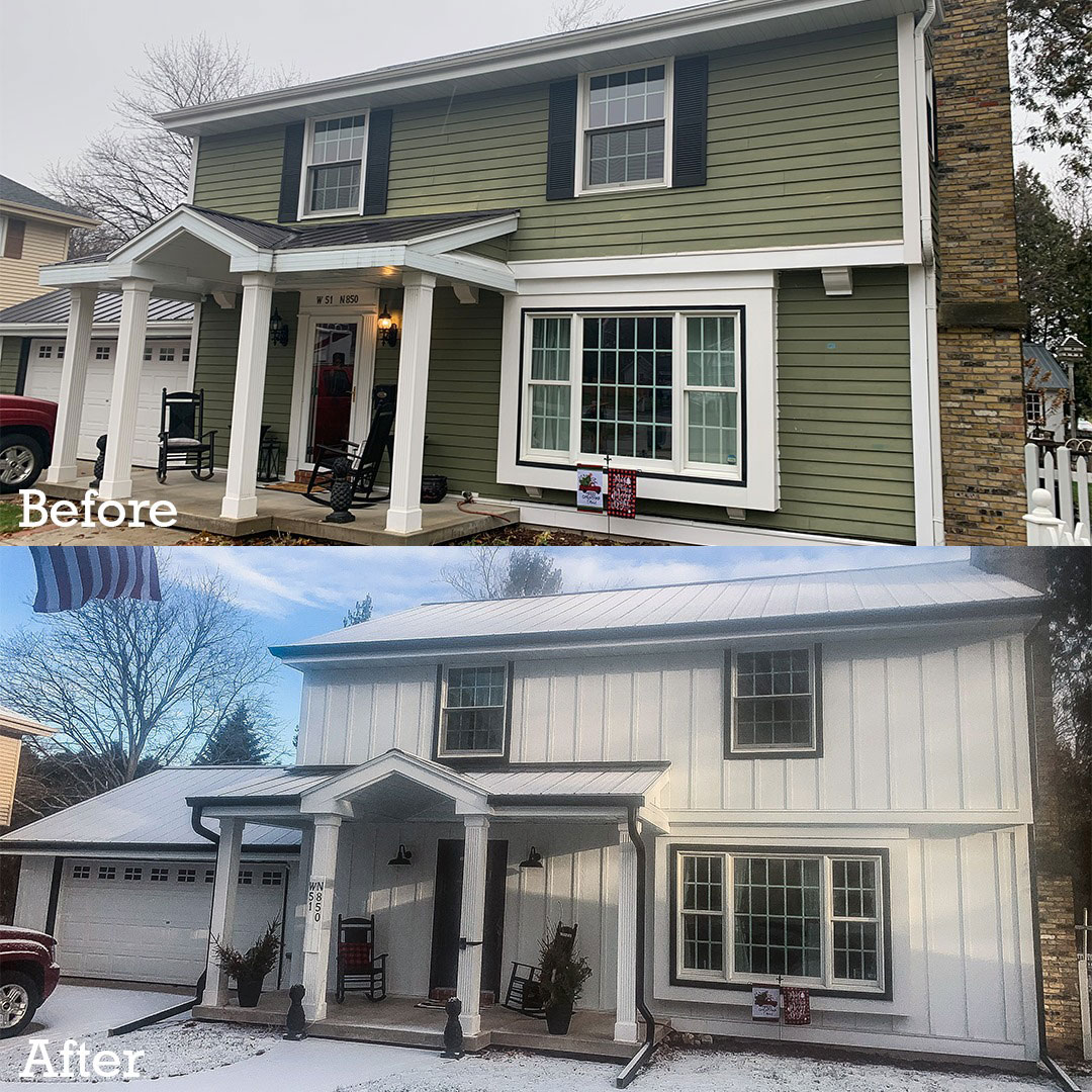 before and after traditional home exterior remodeling project