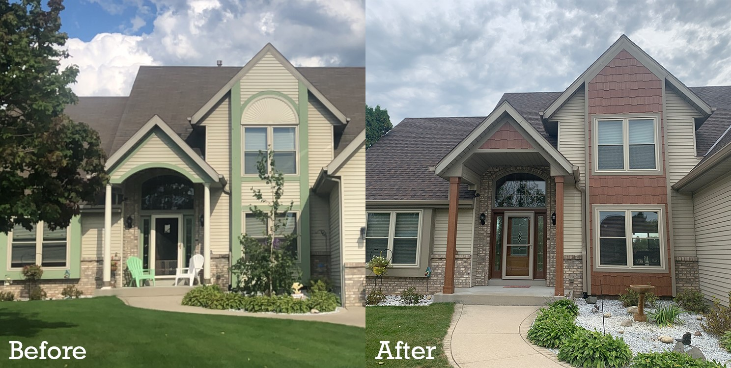before and after exterior home remodeling project