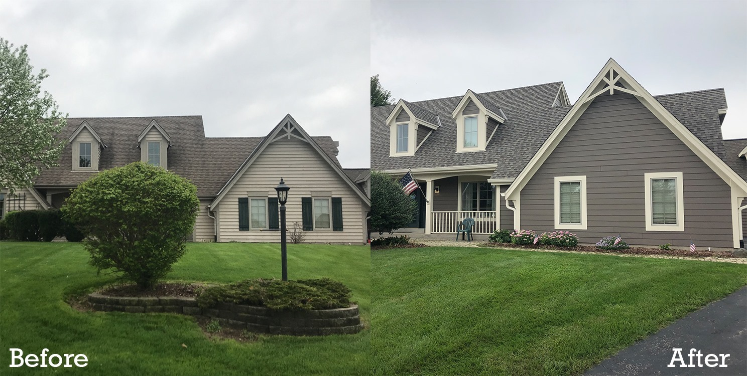 before and after exterior remodeling project