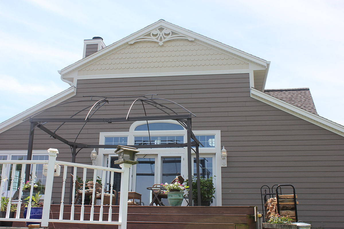 Lp Smartside Montana Suede Siding White Trim Almond